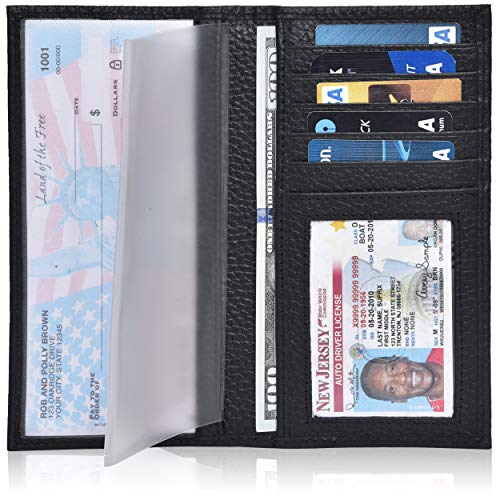 Leather Checkbook Cover Holder for Women and men - Standard Register Duplicate Checks RFID Card Slim Mens Wallet (Black Pebble)
