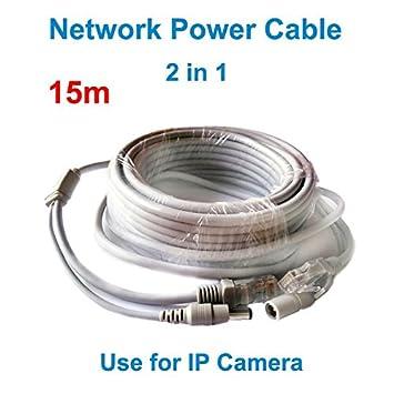 cable de red ARBUYSHOP 15M DC Jack puerto Ethernet RJ45 cámara CCTV Cable de alimentación para