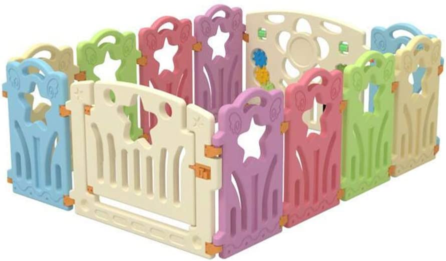 Baby Fence Baby Play Fence Baby Safety Fence Environmental Protection Hdpe with Door Expandable Foldable 12 Panel
