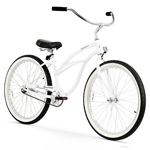 Firmstrong Urban Lady Single Speed - Women's 26' Beach Cruiser Bike (White)