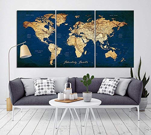 (Vintage World Map Canvas Print for Home Decoration and Living Room Decor, Extra Large Navy Blue World Map Push Pin Wall Art for Office Interior and Decor - Ready to Hang)