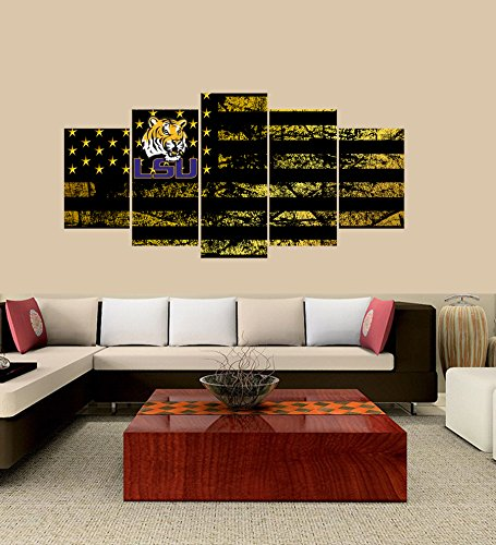 (PEACOCK JEWELS [Large] Premium Quality Canvas Printed Wall Art Poster 5 Pieces / 5 Pannel Wall Decor LSU Tigers Logo Painting, Home Decor Football Sport Pictures- Stretched)