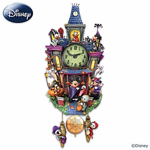 Disney Halloween Themed Cuckoo Clock with 9 Disney Characters: Lights and Music by The Bradford -