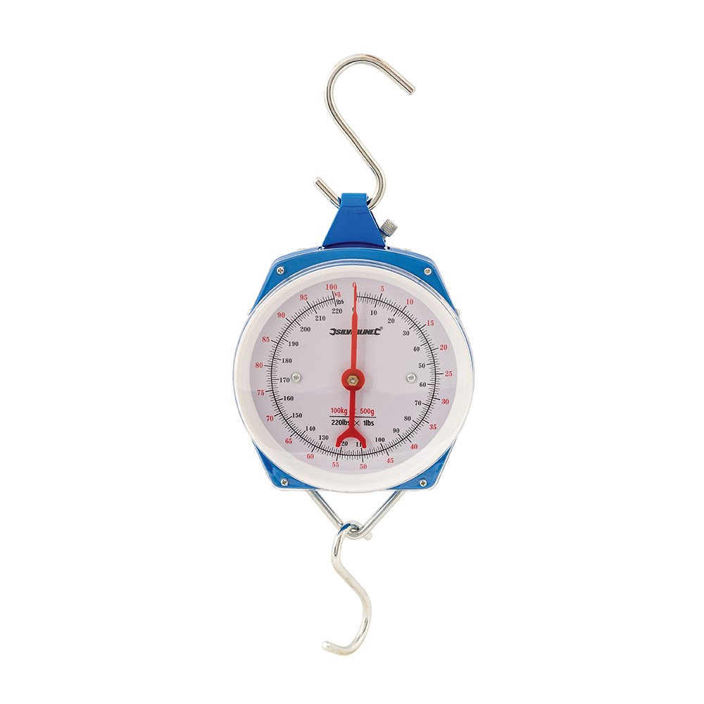 Silverline 251073 Heavy Duty Spring Hanging Scales 100kg (220lbs)