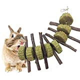 Pet Snacks Chew Toys, AUOKER Thin Apple Sticks for Bunny, Rabbits, Chinchilla, Guinea Pigs, Hamsters, Parrots, and Other Small Animals Chewing, Organic Apple Wooden Tree Branches with Grass Cake