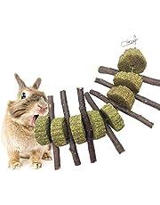 AUOKER jabłka zabawki do żucia zwierząt domowych, cienkie patyczki do jabłek do królików, królików, szynszyli, świnek morskich, chomików, papugi i innych małych zwierząt do żucia, przekąski dla zwierząt domowych do żucia zębów z tortem trawy