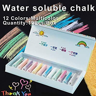 Sidewalk Chalk with Holder -Dustless Twistable Chalk Non-toxic Colored Chalk Washable Art Play for Kid, Paint on School Classroom Chalkboard, Playground, Gift for Birthday Party (1Box/12 Pack): Office Products