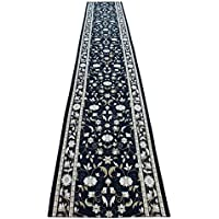 Masada Rugs, Extra Wide Long Runner Area Rug Floral Design, Non Slip Backing, Machine Washable (32 Inch X 15 Feet)