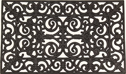 Envelor Home and Garden Fleur de Lis Wrought Iron Rubber Pins Door Mat, 18