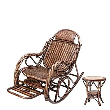 Naturel Bambou Rotin Osier Ensemble De Rocking Chairchaise à