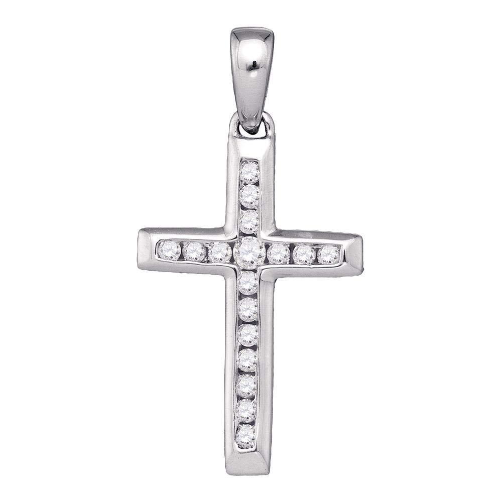 10kt White gold Womens Round Diamond Small Cross Pendant 1 8 Cttw