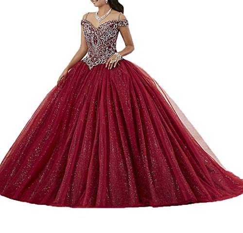 (Graceprom Women's Spaghetti Straps Burgundy Quinceanera Dresses Beaded Crystal Sweet 16 Ball Gowns)