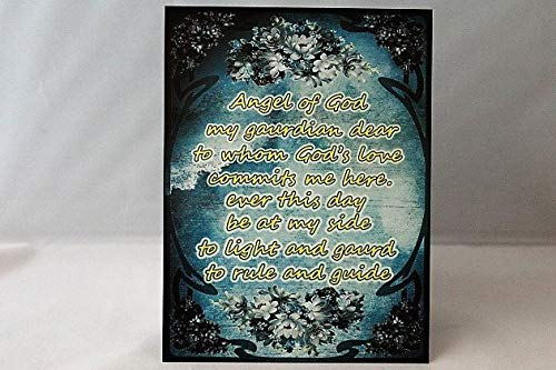 Olga212Patrick Angel of God my guardian dear prayer A5 Wood Sign plaque of an old spiritual verse an ideal gift or present or motivational purchase (Angel Of God My Guardian Dear Prayer Plaque)