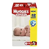 HUGGIES Snug & Dry Diapers, Size 1, 148 Count
