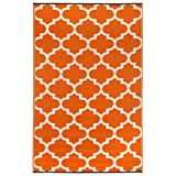Fab Habitat Tangier-Carrot and White (6-Feetx9-Feet) Rug