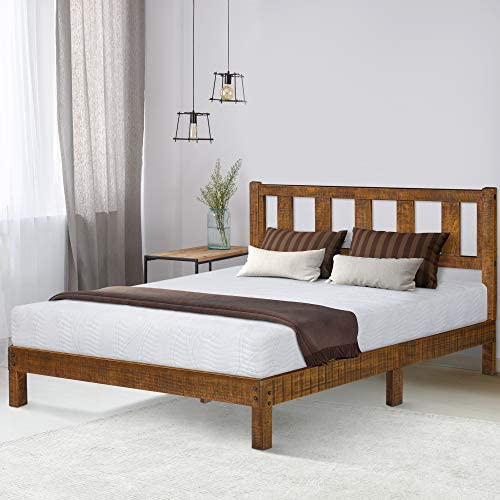 Ecos Living 14 Inch High Rustic Solid Wood Platform Bed Frame with Headboard No Box Spring No Squeak Dark Brown, King