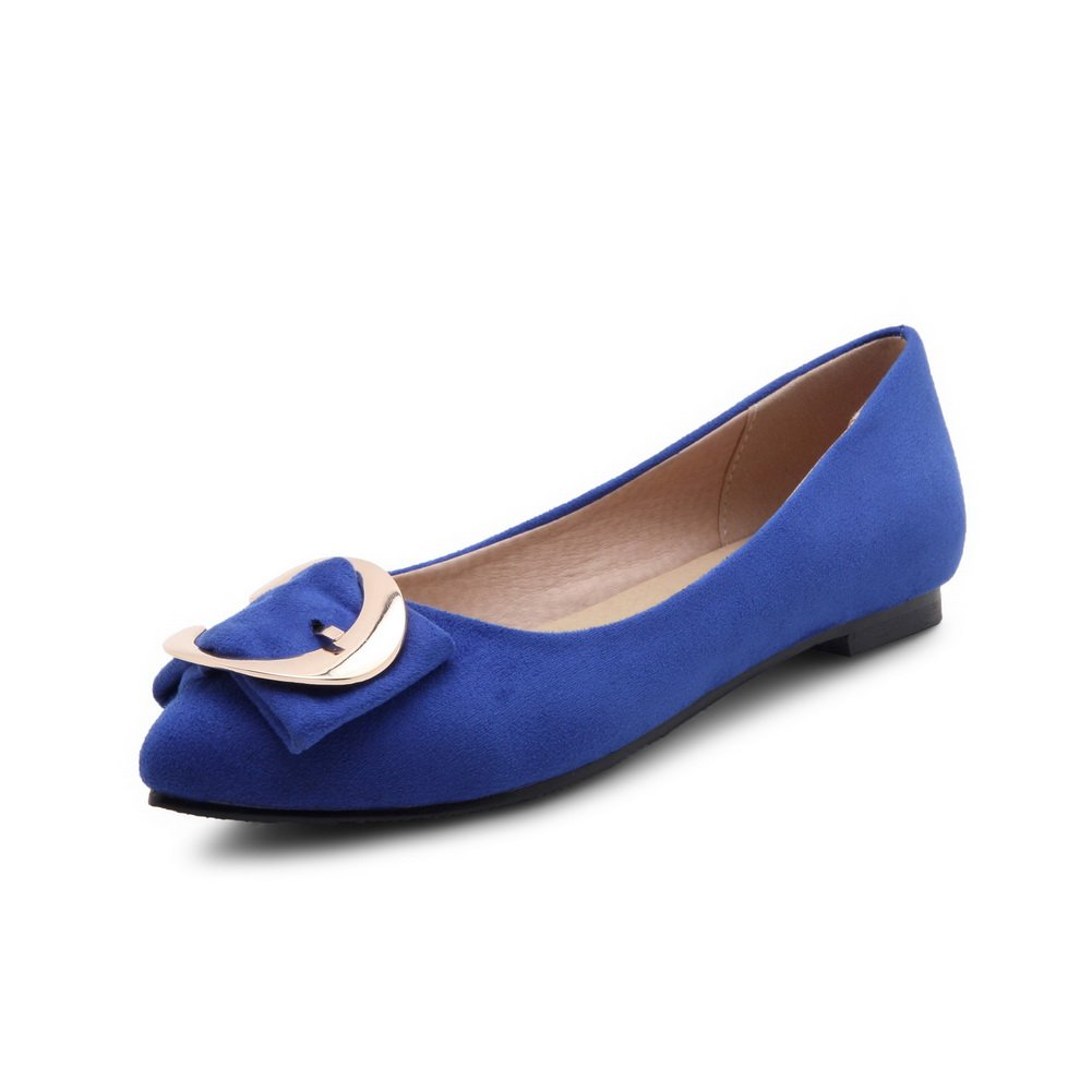 BalaMasa Girls Metal Ornament Low-Cut Uppers Mule Blue Imitated Suede Flats-Shoes - 6 B(M) US