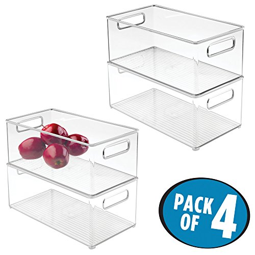mDesign Stackable Kitchen Storage Organizer Deep Bin Box with Built-In Handles, for Pantries, Cabinets, Shelves, Refrigerator, Freezer – BPA Free, Food Safe – 8″ x 6″ x 14.5″, Pack of 4, Clear