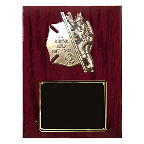 - Customizable 9 x 12 Inch Piano Cherry Finish Plaque with Brass Firefighter and Child, includes Personalization