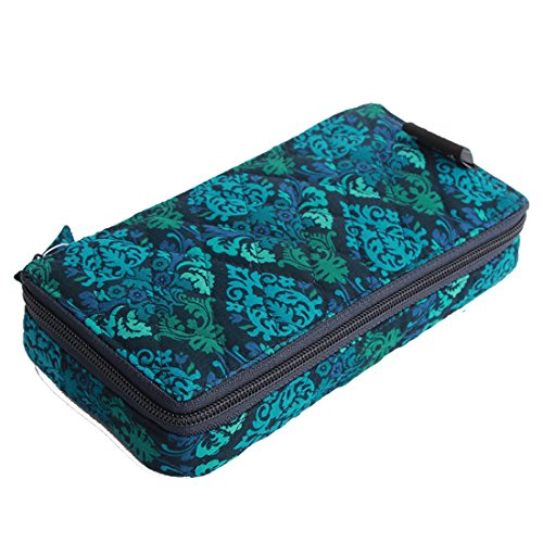 Pill Organizer case Box,7 Days Round Vitamin Organizer Box (Blue Damaks)