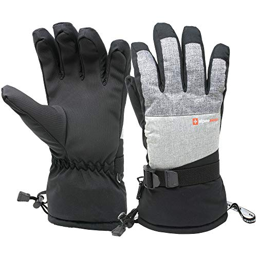 (Alpine Swiss Mens Waterproof Gauntlet Ski Gloves Winter Sport Snow Boarding Windproof Warm 3M Thinsulate)