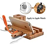 vhs player cleaner - EAS IPhone Charging Stand,Apple Watch Charging Stand 100% Natural Wooden 4 in 1 iPhone iPad iPod Apple Watch USB 4 Port Micro HUB Charging Stand Station Dock Platform Cradle Holder