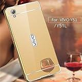 RKMOBILES Vivo Y51L or Vivo Y51 Luxury Metal Bumper Acrylic Mirror Back Cover Case-Gold
