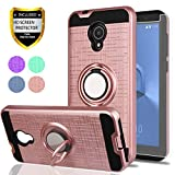 Alcatel IdealXtra Case,Alcatel 1X Evolve,Alcatel TCL LX Cases,with HD Phone Screen Protector,YmhxcY 360 Degree Rotating Ring & Bracket Dual Layer Resistant Back Cover for Alcatel 5059R-ZH Rose Gold