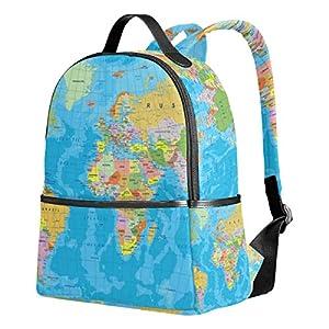 ZZKKO Mochila de mapamundi Coloreada, para Ordenador, Libro, Viajes, Senderismo, Camping