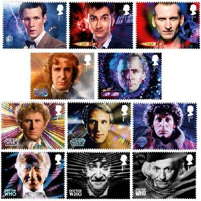 (Doctor Who 50th Anniversary Royal Mail Official 11 Stamp Set featuring all eleven individual Doctors)