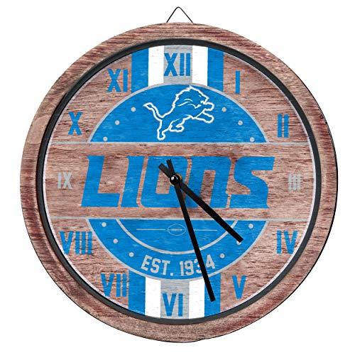 (FOCO NFL Detroit Lions Team Logo Wood Barrel Wall ClockTeam Logo Wood Barrel Wall Clock, Team Color, One Size)