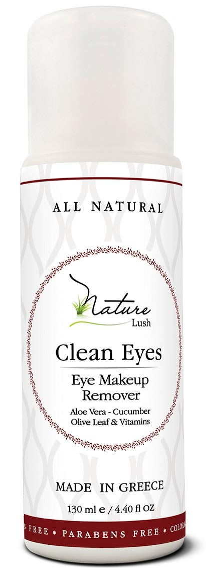 """The Best Natural Eye & Face Makeup Remover - Oil Free - Rich Vitamins - Non Irritating – No Hazardous Chemicals - """"Clean Eyes"""" By Nature Lush - Made In Greece 4.4 oz"""