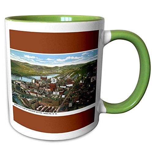 3dRose BLN Vintage US Cities and States Postcards - Birds Eye View of Business Section, Wheeling, West Virginia - 15oz Two-Tone Green Mug (mug_170771_12)