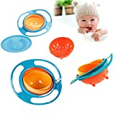 Janestore Children Food Dish Feeding Bowl Newborns Tableware 360 Rotate Spill-Proof Bowl UFO Universal Rotate Bowl-Blue