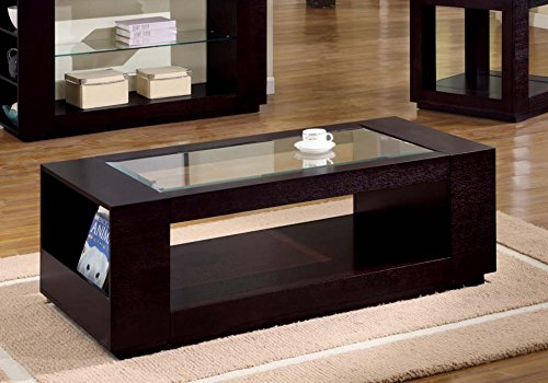 Monarch Specialties I 7810C Veneer with glass insert Coffee Table 52 L Cappuccino