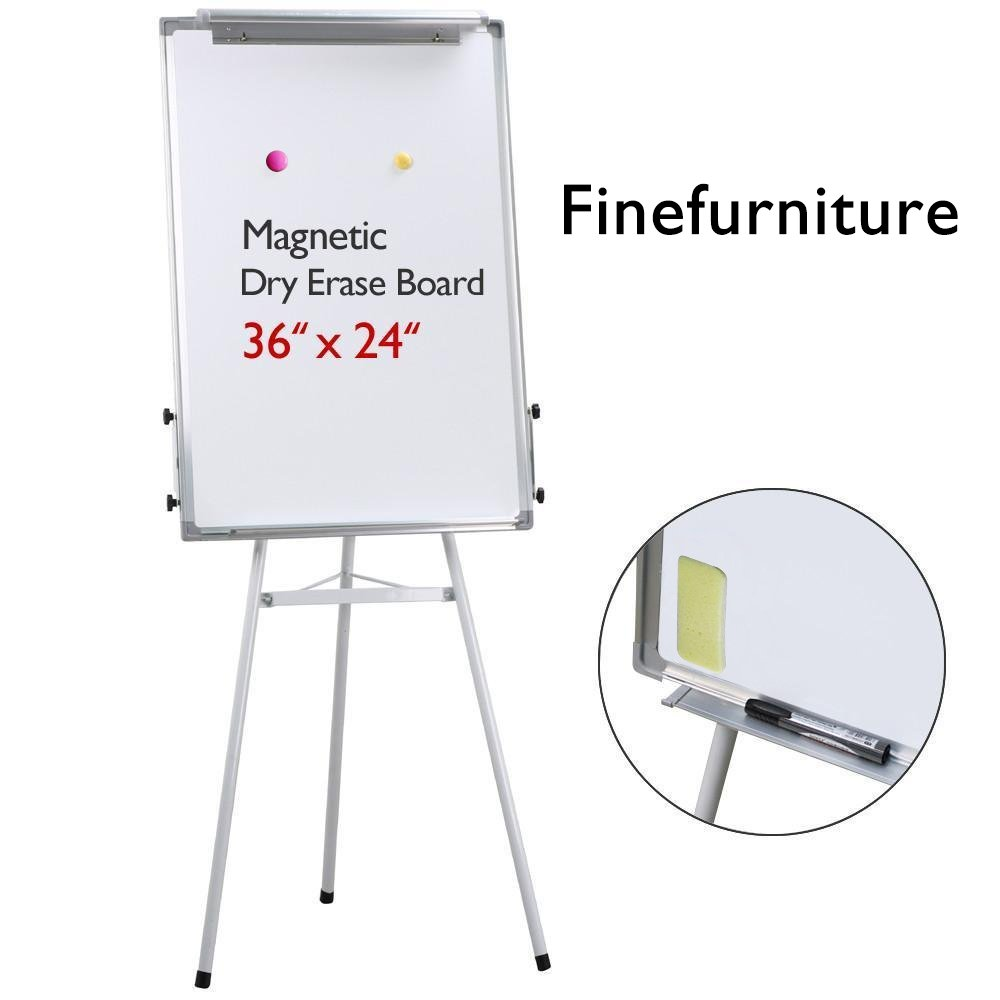 Magnetic Tripod Dry Erase Whiteboard/Easel Whiteboard with Paper Clip and Pen Tray, Height Adjustable, 36'' x 24''