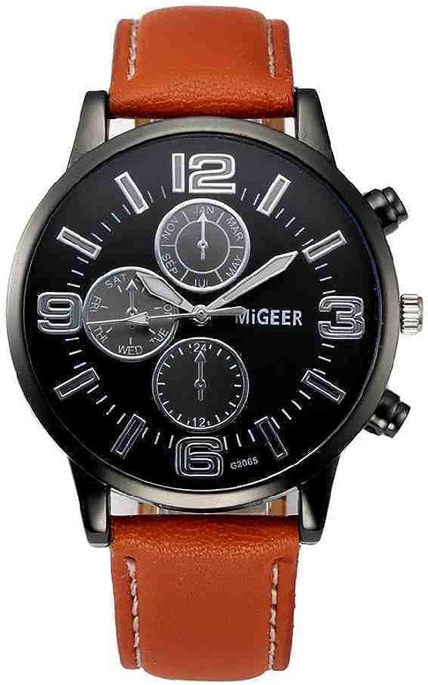 OLUYNG Reloj de Pulsera Geneva Men Watches Women Casual Sports Clock Reloj de Pulsera para Hombre Unisex PU Leather Quartz Watch Relojes 533