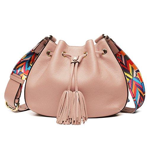 BRANCHEAU YEUNG Bucket Bag,Cowhide Genuine Leather Bag Retro Purse Pink Handbag Lichee Pattern Women Wide Strap Shoulder Bags Drawstring With Tassel