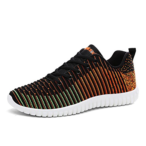 De Earsoon Chaussures Sports Course Shoes Athletic Multisports Sneakers Sport Fitness Hommes Orange Running Entraînement Compétition Mode Gym pIpqw