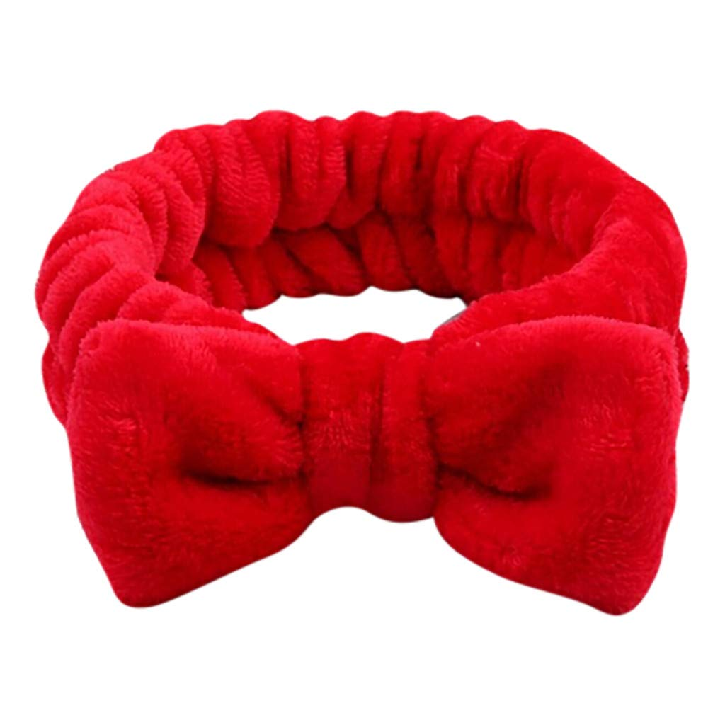 Goldweather Bowknot Headbands for Women Coral Fleece Elastic Hair Band Washing Face Hairlace