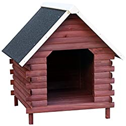PawHut Wooden Log Cabin Elevated Outdoor Dog House with A-Frame Roof