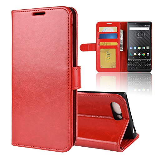 Scheam for BlackBerry KEY2 Case, [Extra Card Slot] [Wallet Case] PU Leather TPU Casing Replacement [Drop Protection] Case Compatible with BlackBerry KEY2, - 963 Berry