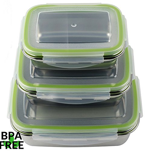 JaceBox Stainless Steel containers Air Tight Lids - Food Preservation Lunch Box LeakProof - Light and Easy to Store.Set of 3! Bento Box ready Eco-Friendly Portion Control Storage. BPA FREE by JaceBox! (Containers Storage Steel Stainless)