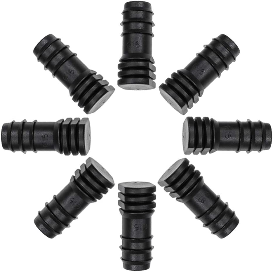 uxcell Barb Drip Pipe End Closure Cap 16PE Hose Plug Connector for Garden Agricultural Irrigation System, Plastic 10pcs