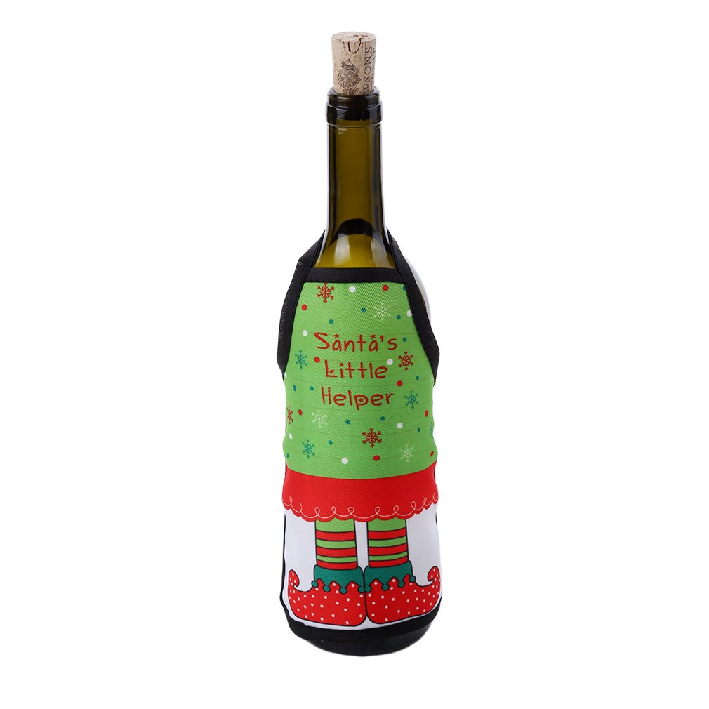 HENGSONG Christmas Wine Bottle Decorations Apron Wine Bottle Cover Party Decor (H) mei_mei9