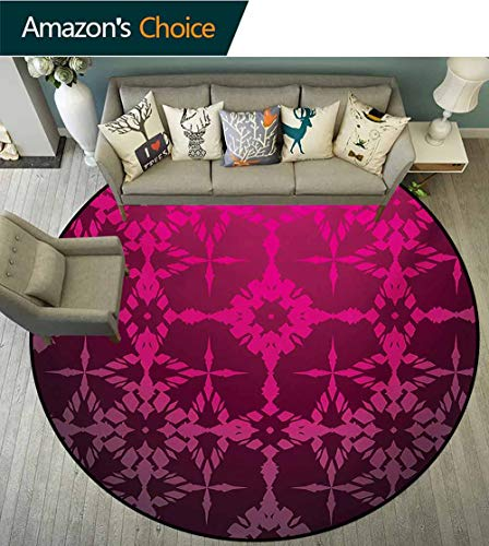 RUGSMAT Magenta Non Slip Round Rugs,Victorian Stylized Classical Bound Ornamental Mosaic Patterns in Nostalgic Design Oriental Floor and Carpets,Diameter-47 Inch Rosewood ()