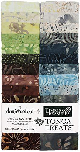 Daniela Stout Tonga Treats Batiks Sky View Strip Jr 20 2.5-inch Strips Jelly Roll Timeless ()