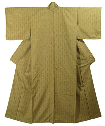 リサイクル 着物 紬 正絹 袷 経緯絣 井桁などの文様 裄65cm 身丈160cm