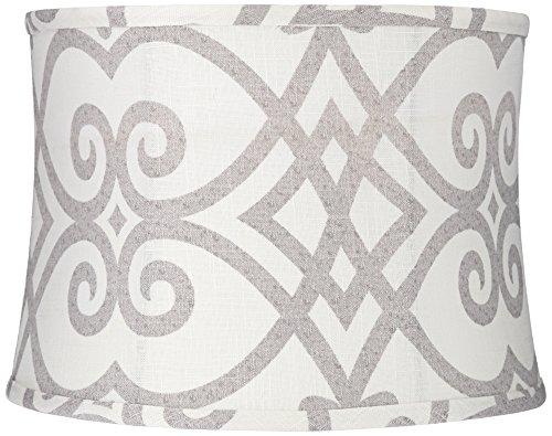 Cream and Gray Round Drum Lamp Shade 13x14x10