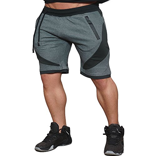 "Men's Training Workout Gym Shorts Casual Drawstring Running Biking Athletic Sweatpant Short (Dark Gray, US Large/Tag XXL Waist:30"" - 33"")"
